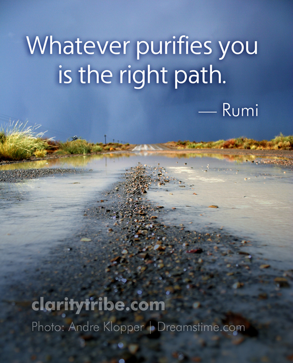 Whatever Purifies You Is The Right Path.   Rumi